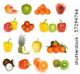 fruit collection isolated on... | Shutterstock . vector #57294766