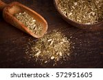 mate with scoop on wooden... | Shutterstock . vector #572951605