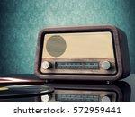 vintage radio 3d rendering   Shutterstock . vector #572959441