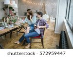 young happy hipster couple of... | Shutterstock . vector #572959447