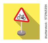 warning road sign icon in flat... | Shutterstock .eps vector #572965354