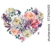 watercolor heart shaped floral... | Shutterstock . vector #572965435