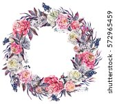 watercolor floral wreath made... | Shutterstock . vector #572965459