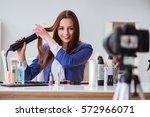 beauty fashion blogger... | Shutterstock . vector #572966071