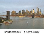 manhattan skyline with brooklyn ... | Shutterstock . vector #572966809
