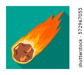 flame meteorite icon in flat... | Shutterstock .eps vector #572967055