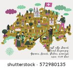 cartoon map of switzerland with ...
