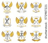 vintage weapon emblems set.... | Shutterstock .eps vector #572987221