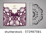 laser cut invitation card.... | Shutterstock .eps vector #572987581