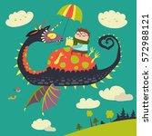 little boy sitting on the dragon | Shutterstock .eps vector #572988121