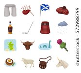 scotland country set icons in...