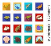 dinosaurs and prehistoric set... | Shutterstock .eps vector #572988949
