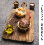 appetizing burger only meat and ... | Shutterstock . vector #572990947