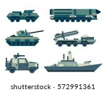 collection of military machines.... | Shutterstock .eps vector #572991361