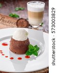 Small photo of Chocolate fondant with mint and ice cream