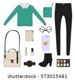fashion flat set of women's... | Shutterstock .eps vector #573015481