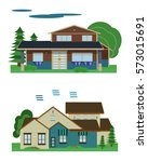 set of colorful flat houses | Shutterstock .eps vector #573015691