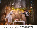 beautiful young couple in trend ... | Shutterstock . vector #573020077