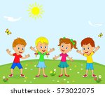 kids boys and girls are smiling ... | Shutterstock .eps vector #573022075