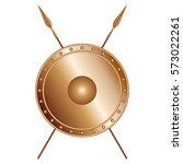 bronze shield and crossed... | Shutterstock .eps vector #573022261