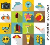 summer rest icons set. flat... | Shutterstock . vector #573029035