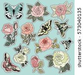 Stock vector set of roses and butterfly patches elements set of stickers pins patches and handwritten notes 573040135