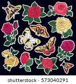 Stock vector set of roses and butterfly patches elements set of stickers pins patches and handwritten notes 573040291
