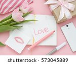 pink valentines day flat lay... | Shutterstock . vector #573045889