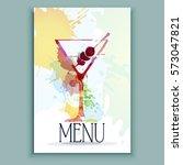 cocktail. vector watercolor... | Shutterstock .eps vector #573047821