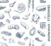 vector pattern of sketches of... | Shutterstock .eps vector #573054481