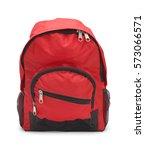 full red school bag isolated on ... | Shutterstock . vector #573066571