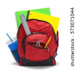 red backpack with school... | Shutterstock . vector #573071044