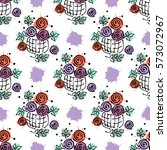 raster seamless floral pattern... | Shutterstock . vector #573072967