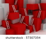 cubes with ladders. 3d | Shutterstock . vector #57307354