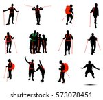 collection of hikers vector...