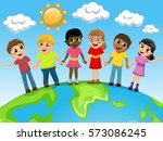 multiracial children or kids... | Shutterstock .eps vector #573086245