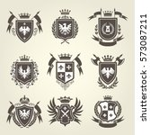 medieval royal coat of arms and ... | Shutterstock .eps vector #573087211