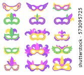 set with mardi gras mask with... | Shutterstock .eps vector #573095725