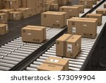 boxes on conveyor roller. 3d... | Shutterstock . vector #573099904