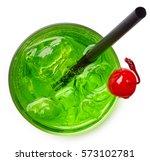 glass of green cocktail... | Shutterstock . vector #573102781