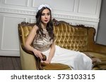 brunette fashion bride in a... | Shutterstock . vector #573103315