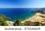 tsambika beach on rhodos.... | Shutterstock . vector #573106645
