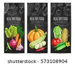 vegetables sketch banners.... | Shutterstock .eps vector #573108904