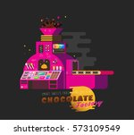 cartoon chocolate pink factory... | Shutterstock .eps vector #573109549