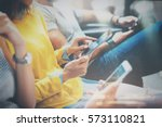 group of young hipsters sitting ... | Shutterstock . vector #573110821