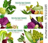 vegetables banners st of... | Shutterstock .eps vector #573113185