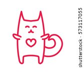 cat hug thin line red icon on...   Shutterstock .eps vector #573117055