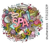 spa hand lettering and doodles... | Shutterstock .eps vector #573122329