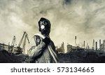 Man Survivor In Gas Mask On...