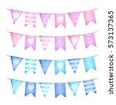 pink and blue flags garland.... | Shutterstock . vector #573137365